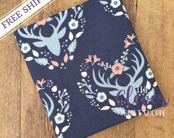 Antlers Navy, Meadow, Camelot Fabrics (100% Cotton Quilting Fabric, Yardage)
