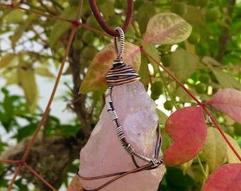 Raw Rose Quartz Necklace Rose Quartz Necklace Crystal Necklace Heart Chakra Necklace Raw Stone Necklace Energy Boho Necklace Jewelry Reiki