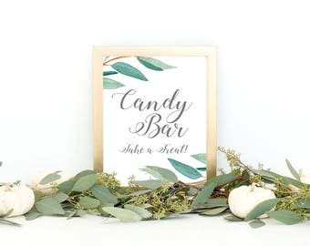 Eucalyptus Bohemian Floral Candy Bar Wedding Sign | Boho Herbal Dessert Table Sign | Greenery Leaf Party Printables | EUC1174