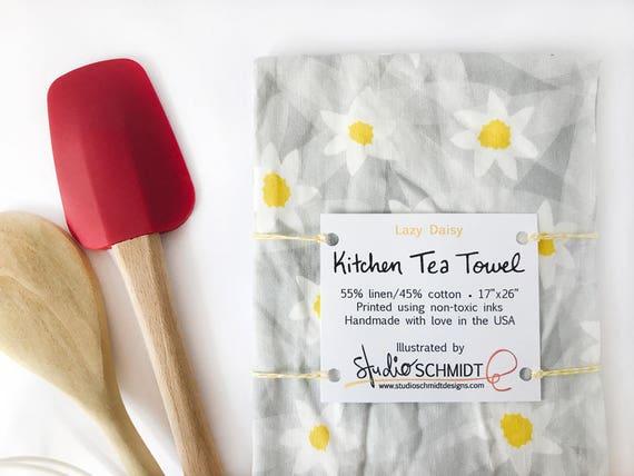 """Lazy Daisy""  Kitchen Tea Towel - Linen/Cotton"