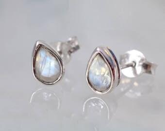 June Birthstone Earrings - Rainbow Moonstone Stud Earrings - Pear Moonstone Earrings - Teardrop Studs - Gemstone studs, Wedding Gift for her