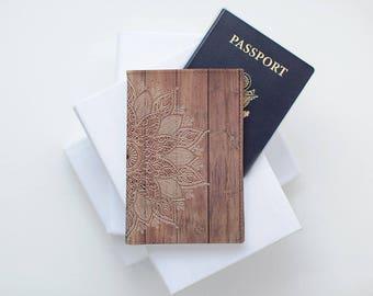 Wood Mandala Passport Case Travel Cover Woman Passport Woman Case Leather Passport Holder Pass Holder Passport Wallet Passport Gift CP0038