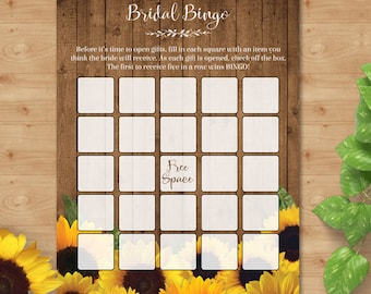 "Printable Rustic Watercolor Sunflowers Bridal Shower Bingo Game Card, Two 5""x7 Cards, PDF Instant Download (not editable)"