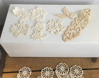 Vintage appliqué beige flower lot decor sewing crafting repurpose decor Upcycle fabric notions
