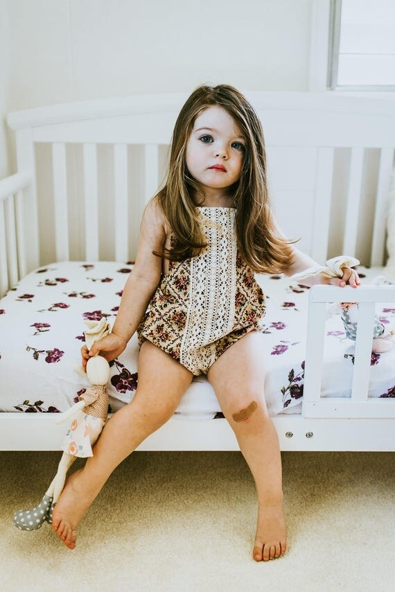 Rose and Lace Romper, Baby Girl Romper, Bubble Romper, Boho Chic, First Birthday Outfit, Vintage Inspired Romper, Boho Birthday Outfit