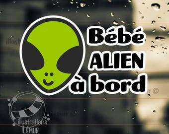Sticky windshield car baby Alien on Board - on board - vinyl decal - color custom-measure on baby shower