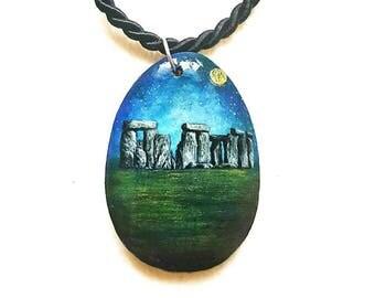 Miniature paintings, pendant hand painted on wood, Stonehenge