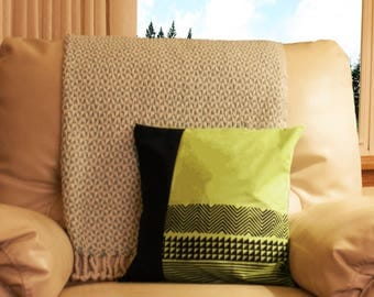 Color Blocked Green and Navy Blue Pillow Cover