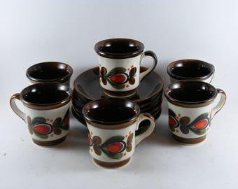 Vintage Schramberg SMF Bernau German Ceramic Majolica Hand Painted 12 pc 6 Persons Coffee Set
