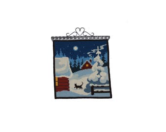 Cute vintage retro Christmas handembroidered Wall hanging Tapestry with winter landscape. Made in Sweden Scandinavian