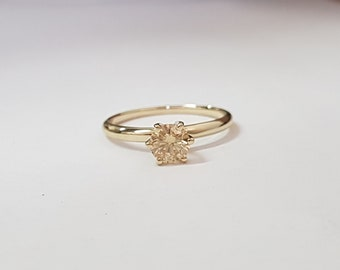 certified 0.54 ct round cut solitaire diamond engagement Ring 14k Yellow gold hand made