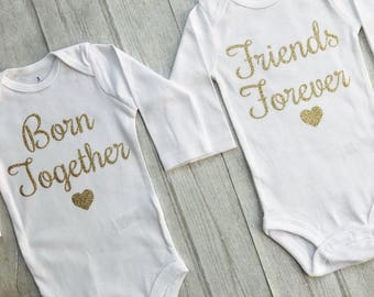 Born Together Friends Forever Twin Baby Rompers Outfit Set Twin outfits Newborn Gold glitter Baby Girl Baby Boy Twinning Matching outfit