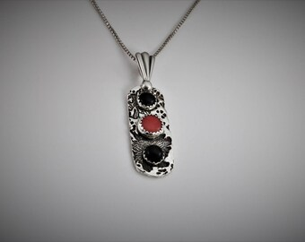 "Item 6036 - ""Nightime Sea Garden""  Handcrafted, sculpted and carved  Unique One of a Kind 999 Fine Silver Pendant with Red Coral and Onyx"