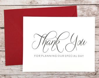 Thank You For Planning Our Special Day Card, Wedding Planner Thank You Card, Wedding Vendor Thank You - (FPS0058)