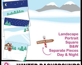 Winter Backgrounds Scenes ClipArt