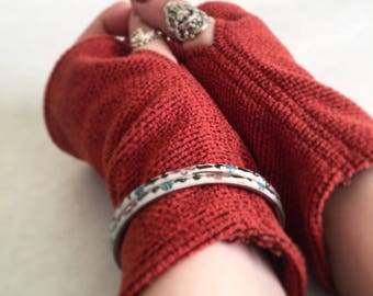 Burnt Amber Fingerless Gloves Wrist Warmers Smoking Gloves - FREE SHIPPING