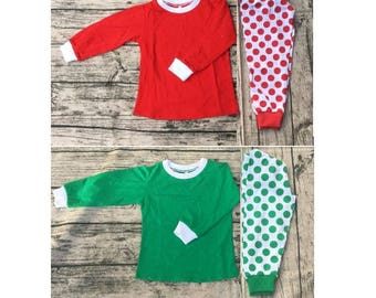 IN STOCK! Children's Green and Red Polka Dot Christmas Pajama Set