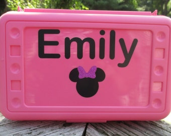 Personalized Name Pencil Box, Back to School, School Supplies, Pencil Case, Pencil Box, Name Pencil Case, Crayon Box, Name, Disney, Minnie