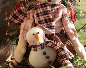Raggedy Snowgirl with Snowman