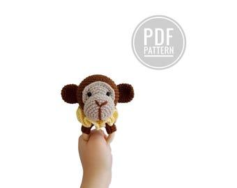 Crochet pattern - teether - frankie the monkey - rattle - amigurumi - baby toy
