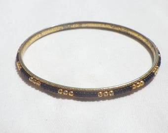 Vintage Gold and Black Beaded Bangle Bracelet from the 1960's