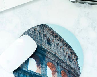 Mousemat, Mousepad, Rome Italy, Gap Year, Coworker Gift, Going Away Gift, Desk Accessories, Colosseum, Mouse Pad, Cubicle Decor, Travel Gift
