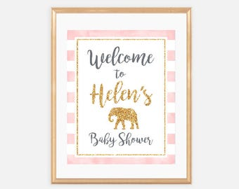 Elephant - Welcome Baby Shower Sign, Baby Shower Signage, welcome to, pink, gold, glitter, safari, stripes, classy, girl, elegant, cute, 005