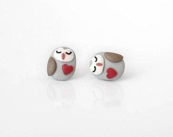 Tiny owl - new handmade lightweight earrings