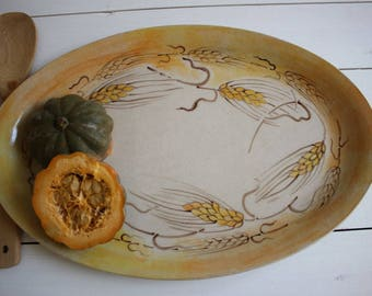 Large ceramic tray, serving tray, fruit tray, serving platter, tableware, housewarming gift, potluck gift, kitchenware, hand painted