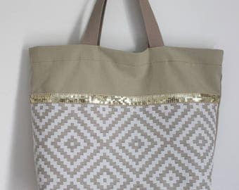 Beige and white graphic Tote with gold glitter