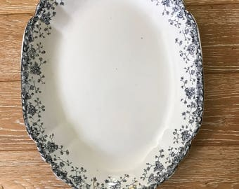 Antique Ironstone Platter huge blue and white transferware Bridgewood & Son farmhouse antiques