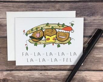 falafel holiday card - foodie christmas card - funny christmas card - christmas carol card - food - friend christmas card-pun christmas card