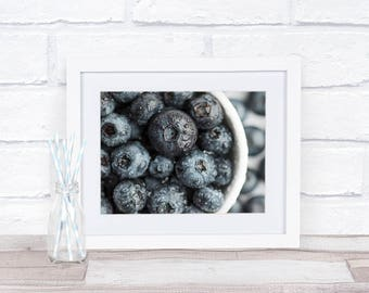 Blueberries, Fruit Photography, Kitchen Decor, 8x10, Instant Download, Wall Art Photography, Restaurant Decor