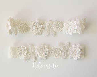 Ivory Beaded Flower Lace Wedding Garter, Bridal Ivory Wedding Garter, Wedding Toss Garter,Light Ivory Wedding Garter Set