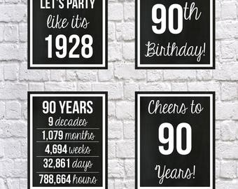 90th Birthday 1928 Signs, Black and White 90th Birthday DIGITAL Posters, Let's Party, Happy 90th Birthday, Cheers to 90 Years, 90 Years Ago