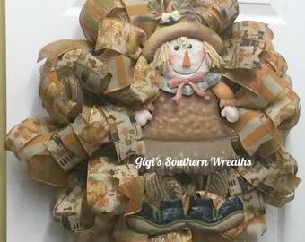 Fall Deco Mesh Wreath, Scarecrow Wreath, Harvest Wreath, Autumn Wreath, 188