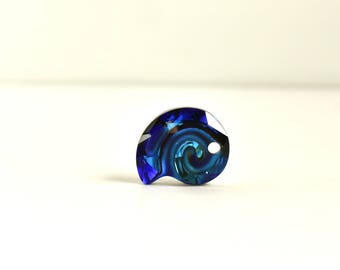 14mm Blue Faceted Sea Snail Pendant, Swarovski Crystal, Partially Frosted, Bermuda Blue, Drop Bead, Snail Shell Charm, Loose Crystal,YC3879A