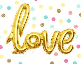 "42"" Love Balloon, Gold Balloon, Script Balloon, Bridal Shower Decor, Bachelorette Balloon, Engagement Decor, Wedding Decor, Valentines Day"