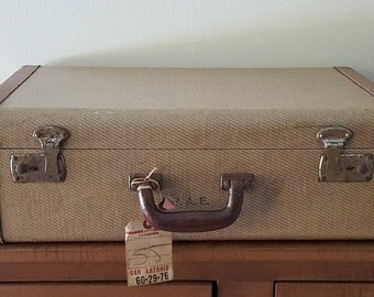Old Suitcase from 1940s Tweed Suitcase with Leather Trim and Handle~Train Travel Case~Luggage Storage~Farm Decor~Suitcase Stack