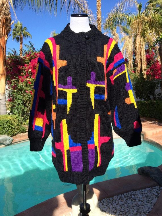 Rochelle California 80's Wool Blend Oversized Cardigan/Jacket,Size Small.
