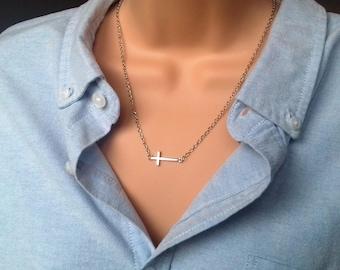 Sideways cross necklace   silver cross   silver necklace   sideways necklace   layering necklace   dainty cross   dainty necklace