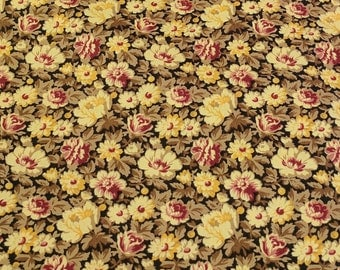 All Over Brown Flowers on Cotton Fabric