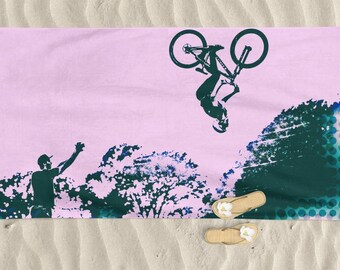 Beach Towel, Men beach towel, bike art, mountain bike art, Cycling Art, Beach Lover, Men gift, Cycling Gift, Beach Gift, BMX, bicycle art