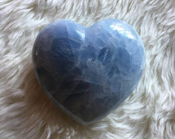 Blue Calcite Heart, Large Blue Calcite, Puffy Heart, Natural Crystal, Crystal Hearts, Blue Calcite Stone, Calcite Heart