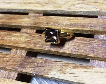 Ring with a smoky quartz, silver ring, gold plated