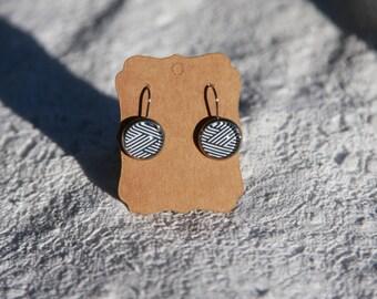Black and white stripe drop earrings