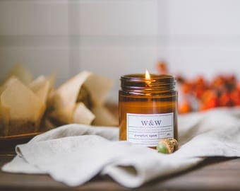 Pumpkin Spice - 9oz Pure Soy Wax Candle in Amber Jar with Lid