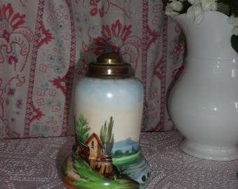 Old lamp base, 19 th hand decorated porcelain