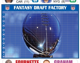 PREMIUM Fantasy Football Draft Kit 2017 - Full Color Board + Player Portrait Labels + FREE SHIPPING
