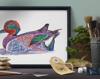 Green Winged Teal Art Print, British Bird Wall Art, Colourful Bird Art, Cute Duck Art, Duck Wall Art, Whimsical Bird Art, Duck Watercolour